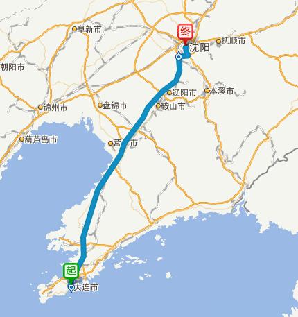 大连到沈阳高速公路导航路线图
