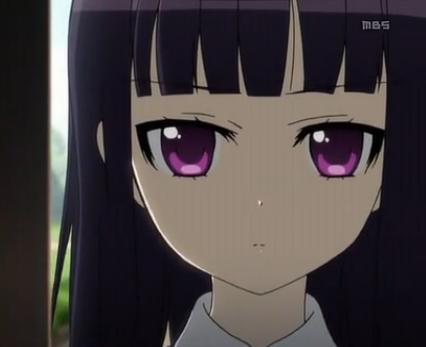 求一张紫色大眼睛黑色长发的动漫女孩图片!