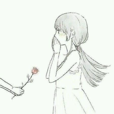 情侣头像动漫一个男孩拿着一朵玫瑰花,对面一个女孩用手捂着嘴,这张图片