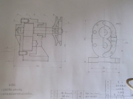 齿轮油泵装配图 齿轮油泵装配示意图 齿轮油泵装配图cad