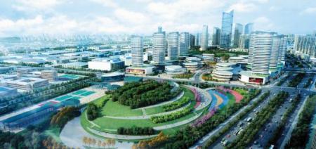 """一核即核心区中心位置;两轴即滨水发展轴与城市核心功能轴共同形成的"""""""