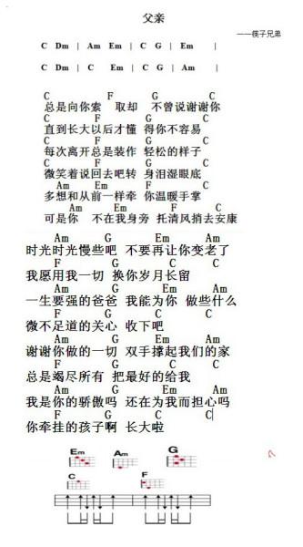 筷子兄弟 《父亲》 尤克里里的入门谱子_百度知道图片