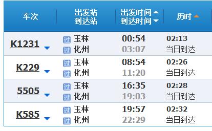 从玉林到广州化州路线