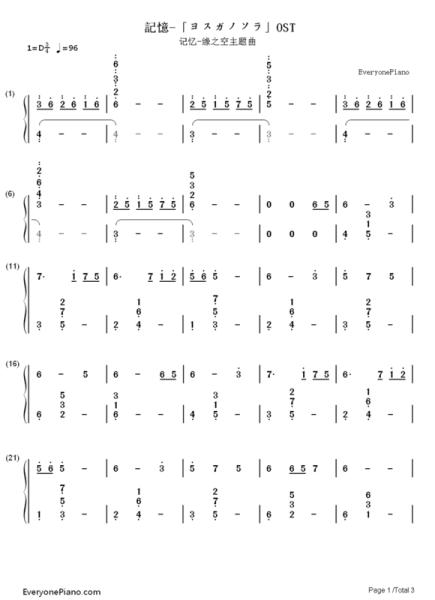 【求数字钢琴简谱】缘之空的记忆图片
