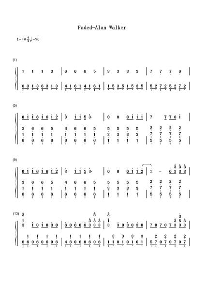 能不能告诉我faded钢琴简谱数字谱图片