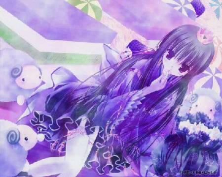 紫色风格卡通美少女的图片.要好看的哦,用来画画.