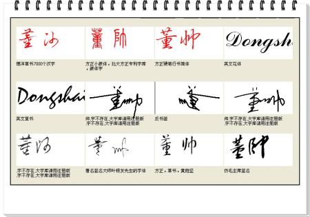 幫忙設計個藝術簽名,董帥,董字不要太連筆了,圖片發大圖片