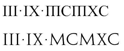 谁知道这两排罗马数字各是什么字体图片