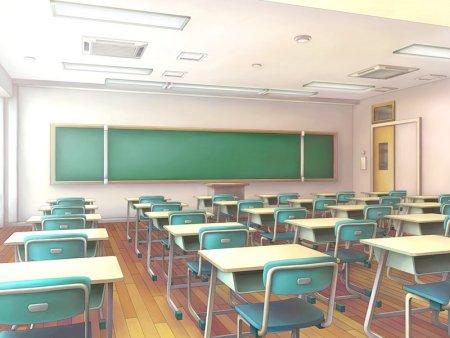 关于教室的�9�.�*_动漫教室图片