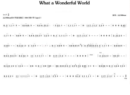 求十孔布鲁斯口琴a调 大海的永叹,what a wonderful world的简谱图片