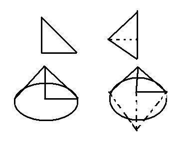 把一个直角边长为4的等腰三角形分别绕直角边和斜边旋转一周,求侧面图片