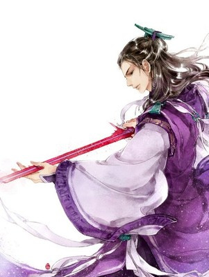 古风紫衣男子霸气背影图片