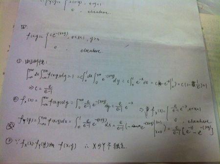 ��ce�f�x�_设随机变量(x,y)的概率密度为 f(x,y)=ce^-(x y) , 0