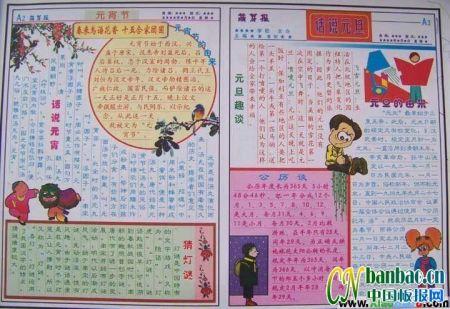 关于春节元宵节习俗的手抄报内容.