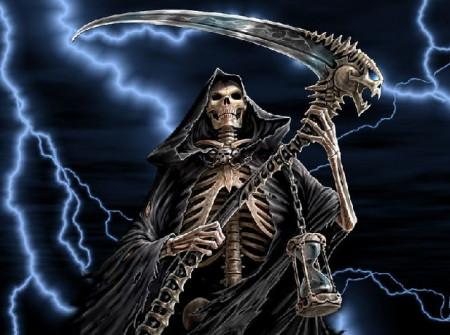 一个骷髅穿个风衣,手上还拿把镰刀,是谁?