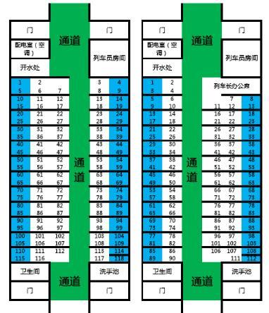次列车的17车厢定员多少以及 座位分布 表   火车座位分布 高清图片