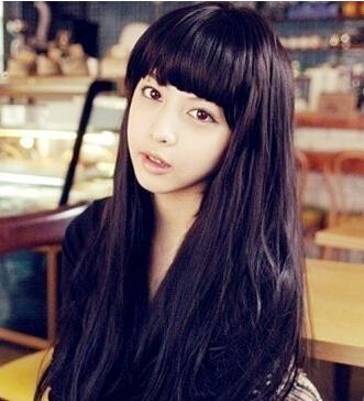 齐刘海儿,长头发梳什么样的发型会还看?图片