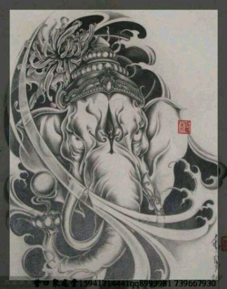 求大神发几张大象的纹身手稿 象神一类的也可以 不要成品图 要手稿图片
