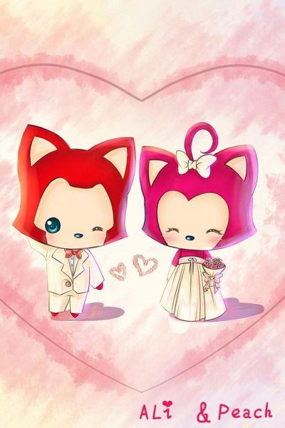 求阿狸与桃子的白色婚纱结婚照iphone壁纸,还请亲们多多帮忙,小弟感激图片