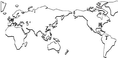 读世界轮廓略图(如图),回答14-16题:14.