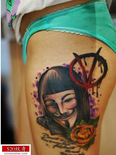 求一个v字仇杀的包腿纹身图片,以前在快手上看过是和玫瑰花结合的图片图片