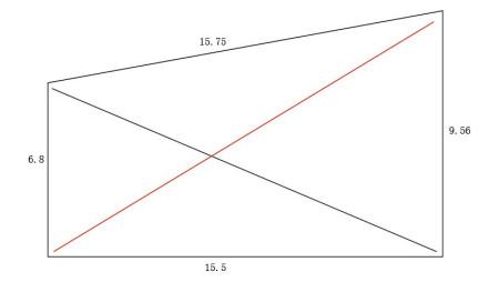 请问;一个40厘米的正方形,怎么才能算出,对角线的长度,它的计算公式是图片