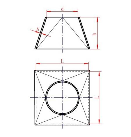 不�z`d�!�m�z)�ynl�.�9.b_1,示意图中d为圆口内直径,l为方形内边长度, h为接管高度, b为板材
