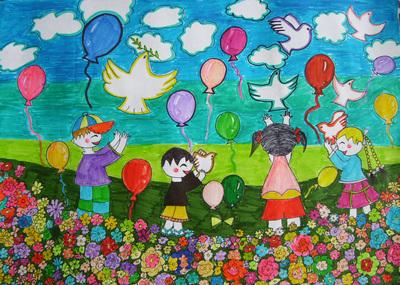 放飞梦想的儿童画图片
