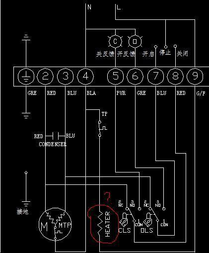 电动阀接线图图中的heater原件是什么?有什么作用?图片