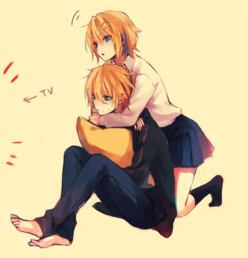 anime siblings hugging