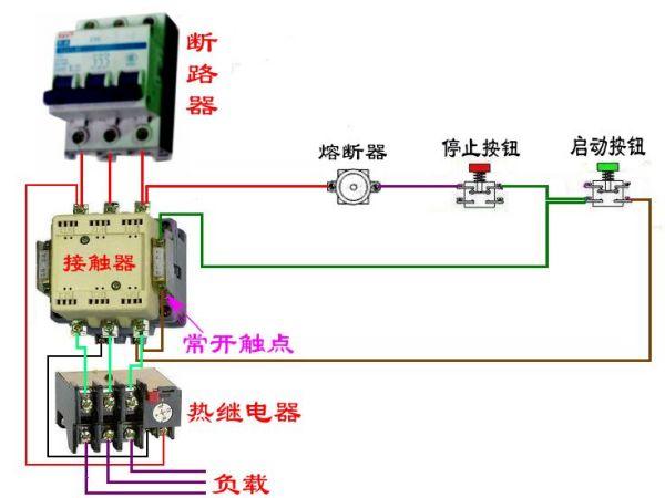 求按钮控制三相电机启动和停止的接线图和需要的元件图片