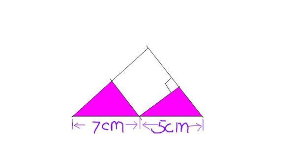 如图,直角三角形中空白部分为正方形.涂色部分的面积是多少?图片