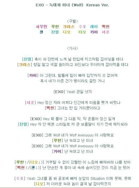 求exo狼与美女 wolf的歌词分配是韩文版的哦