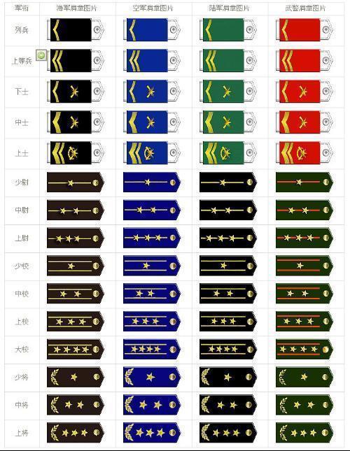 中国解放军军衔等级级各勋章图片
