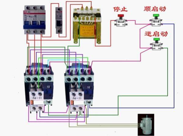 一个启动 一个点动 和一个停止按纽控制三项电动机的实物接线图,图片