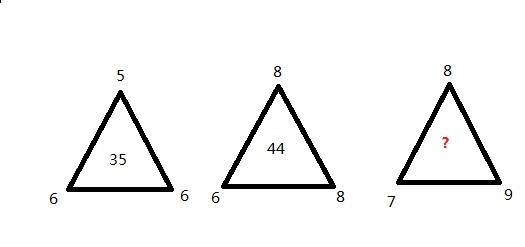 公务员考试题,找数字的规律,分三角形内外,求高手.图片