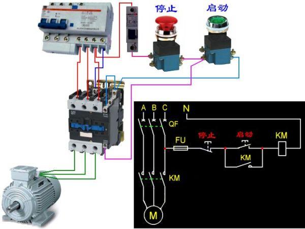 cjx2 65交流接触器控制线圈220V的实物接线图. 作业帮