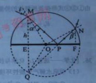 地面AOB镀银,o表示半圆截面的圆心,一束光线在横截面内从M点图片
