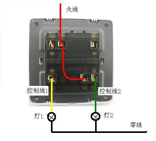 一个双联双控开关怎么控制两个灯三根线,红色,黄色,蓝色.需要左图片