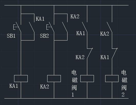 两个开关单独控制两个电磁阀的开关,我想中间通过小继电器,来实现电磁图片
