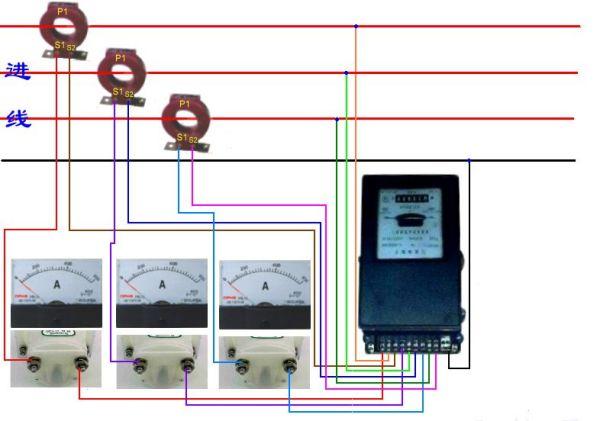 请问互感器,电流表,电度表怎么接线图片