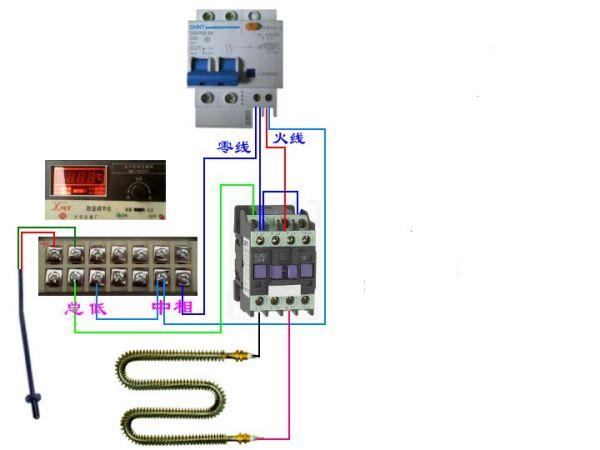121温控仪,220V接触器,加热棒接线图