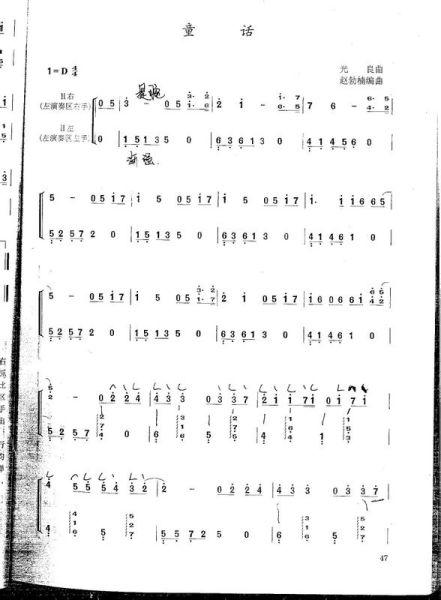 光良童话 钢琴简谱 - 枞阳网图片