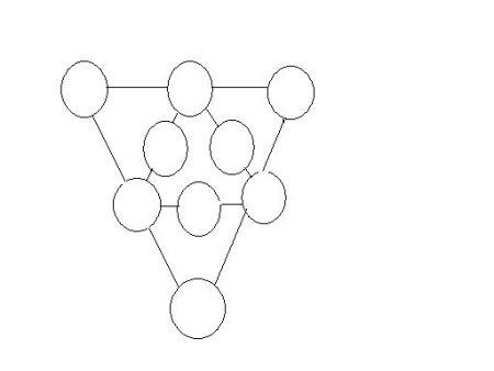 将1~9九个数分别填入图中○内,使外面三角形边上○内数字之和等于里面