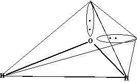水分子为什么是v形的啊.h:o:h.上面下面都有电子啊怎么会弯啊图片