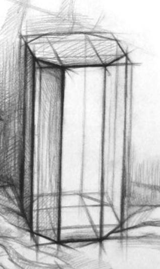 八棱柱应该怎样画,素描结构几何的.