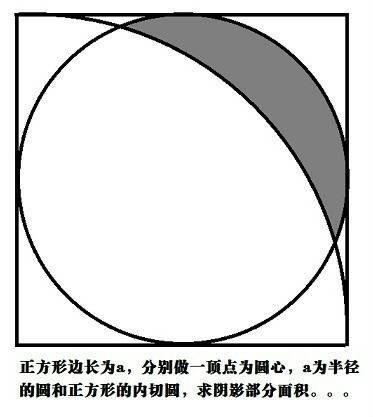 正方形边长为a,分别做一顶点为圆心,a为半径的圆和正方形的内切圆,求图片