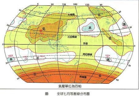 所以选7月份c,看下图的1月份7月份全球等压线分布图的经纬度和气压图片
