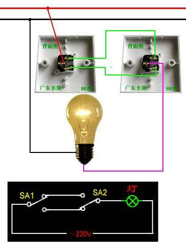 一灯三控开关现场接线图视频图片