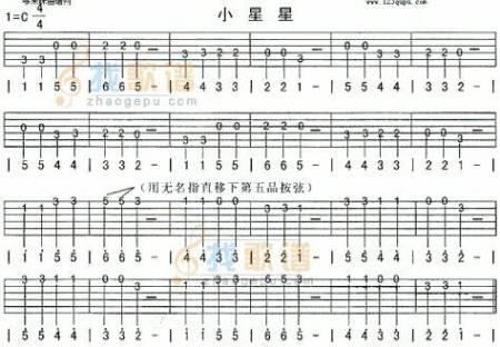 小星星吉他四线简谱分享_小星星吉他四线简谱图片下载